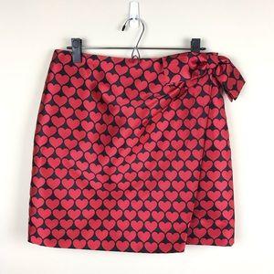 J.Crew Wrap Skirt In Jacquard Hearts Red Black 10